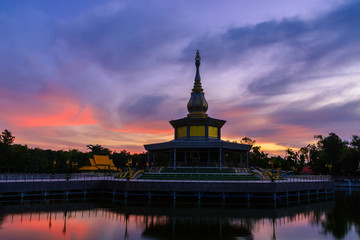 Beautiful pagoda in a pond.