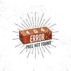 404 error page with brick. Vector concept of 404 error page. Illustration for page 404 error. Page not found message. Template for web page with 404 error. Roughen retro design.