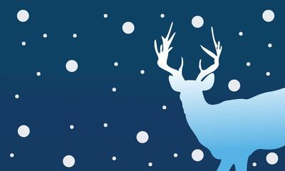 Silhouette of deer Christmas winter