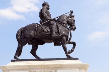 Life-sized bronze statue of Maharana Pratap at Maharana Pratap Memorial, Udaipur, Rajasthan balanced on his loyal and favorite horse, Chetak.