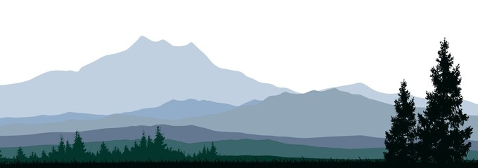 pine tree silhouette with mountain background