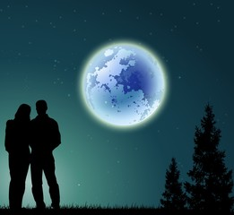 man and woman silhouette on night with pine tree silhouette and full moon background