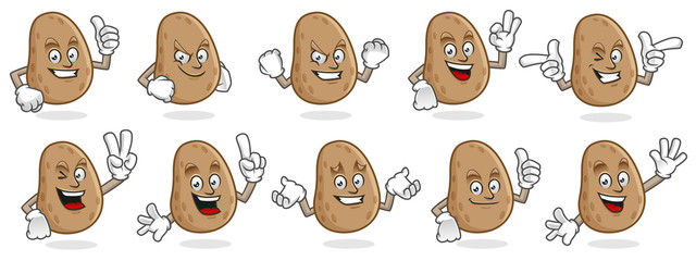 potato mascot vector pack, potato character set, vector of potato