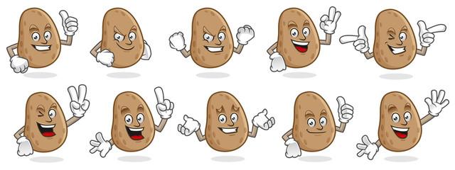 potato mascot vector pack, potato character set, vector of potato