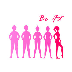 Fat and slim woman