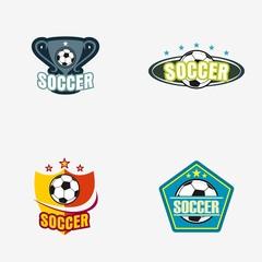 Set of Soccer Football Badge Logo Design Templates. Sport Team Identity Vector Illustrations