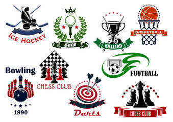 Sport game heraldic icons and symbols
