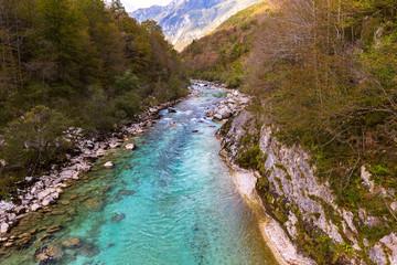 View of Soca river in Slovenia