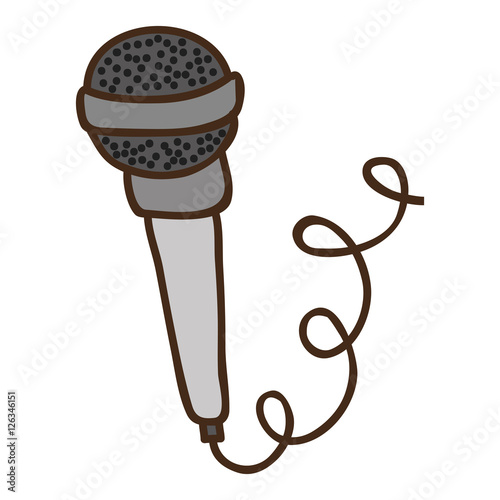 """microphone with cord icon over white background. draw ..."