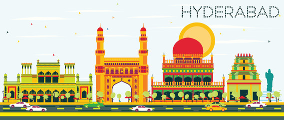 Abstract Hyderabad Skyline with Color Landmarks. Fototapete