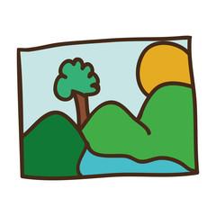 picture of landscape icon over white background. drawn design. vector illustration
