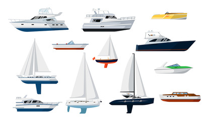 Motorboat and sailboat side view set isolated vector illustration. Ship, pleasure boat, speedboat, vessel, cruise ship, luxury yacht, powerboat, sailfish in flat design. Marine sea transport icons.