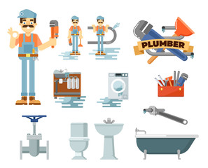 Professional plumbing repair service isolated vector illustration. Plumber man in uniform with tools at work. Toilet, kitchen sink, bath, washing machine, water pipes, tap, adjustable wrench, plunger