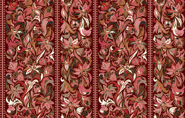 Striped seamless pattern. Floral wallpaper. Colorful ornamental border
