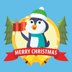 penguin in circle merry christmas