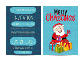 Invitation on Christmas party with date and time. Cheerful Santa with color wrapped presents cartoon vector. Merry Christmas and happy New Year greetings. Xmas fun. Winter holidays celebrating