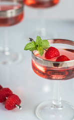 Raspberry Cordials in Coupes