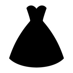 Woman wedding dress silhouette. Simple and elegant woman fashion dress. Vector illustration.