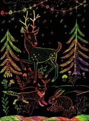 Hand drawn illustration. Deer, fox, hare. Christmas background.