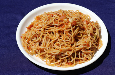 Chinese dish - Tomato veg chow mein noodles