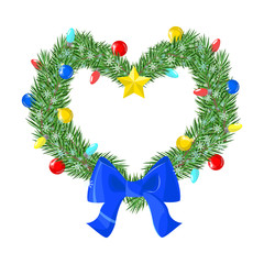 Christmas wreath decorated in the shape of a heart. Vector