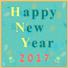 Happy new year 2017. Vintage greeting card