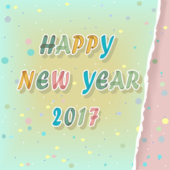 Happy new year 2017. Watercolor Greeting card