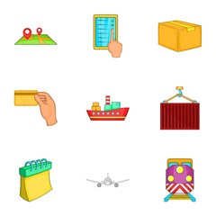 Transportation icons set. Cartoon illustration of 9 transportation vector icons for web