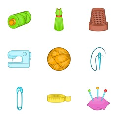 Tools for sewing dresses icons set. Cartoon illustration of 9 tools for sewing dresses vector icons for web