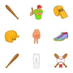 Baseball sport icons set. Cartoon illustration of 9 baseball sport vector icons for web
