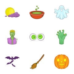 All hallows evening icons set. Cartoon illustration of 9 all hallows evening vector icons for web