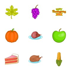 Autumn festival icons set. Cartoon illustration of 9 autumn festival vector icons for web