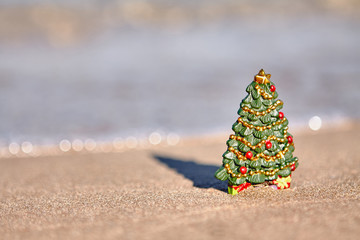Candy canes on the beach. holiday vacation concept