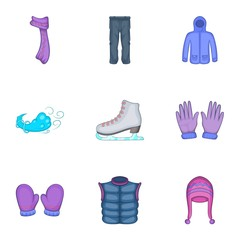 Winter outfits icons set. Cartoon illustration of 9 winter outfits vector icons for web
