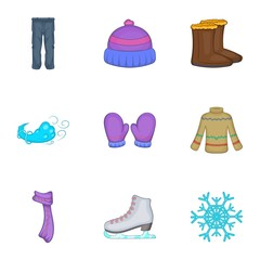 Warm outfits icons set. Cartoon illustration of 9 warm outfits vector icons for web