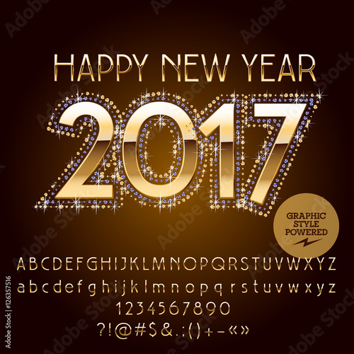 vector golden glitter happy new year 2017 greeting card with set of letters symbols and