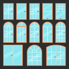 Vector icons set of different types of windows black and white. Architecture frame silhouette isolated. Building element illustration. Home shape design.