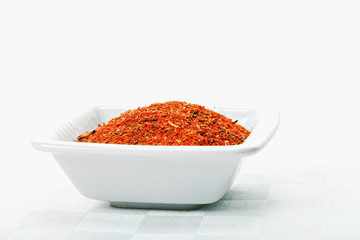 Dish with spice mixture for fish courses