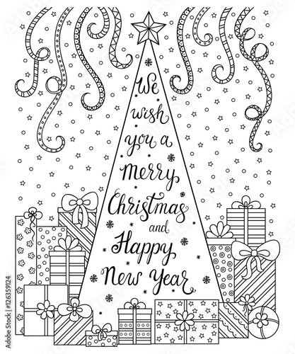 Doodle Pattern Lettering We Wish You A Merry Christmas And Happy New Year