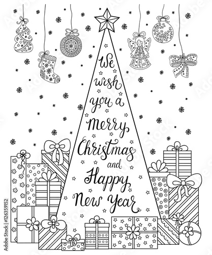 Lettering We Wish You A Merry Christmas And Happy New Year