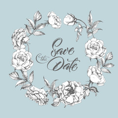 Save The Date card with a beautiful wreath of roses. (Use for Boarding Pass, invitations, thank you card, Wedding invitation card .) Vector illustration