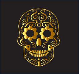 Skull icon ornament gold color vector