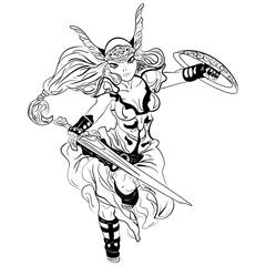 black and white vector sketch cartoon Valkyrie