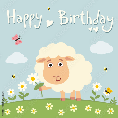 Happy Birthday Cute Sheep With Flower On Meadow Birthday Card