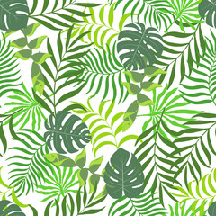 Seamless pattern with hand-drawn tropical leaves.
