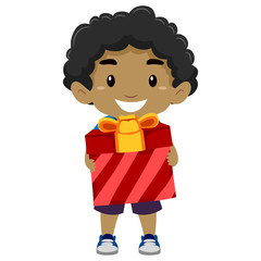 Vector Illustration of a Black Boy Holding a Gift
