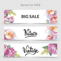 Wildflower promo sale banner template for web in a watercolor style isolated.