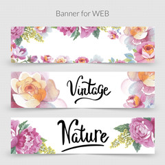 Wildflower promo banner template for web in a watercolor style isolated.