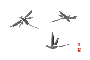 "Three dragonflies flying in the air. Hand-drawn with ink in traditional Japanese style sumi-e. Sealed with hieroglyphes ""flower"" and ""love"""