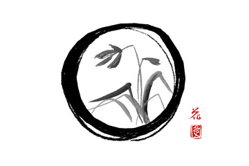 Wild orchid on meadow in black enso zen circle. Traditional Japanese ink painting sumi-e on rice paper background. Contains hieroglyphs - flower and love